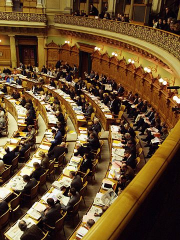 360px Swiss Federal Assembly session with spectators gallery